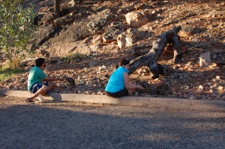 Shaun and I at the sunset wallaby feeding