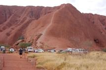 Looking towards Uluru over the carpark