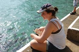 Feeding the fish at AquaScene